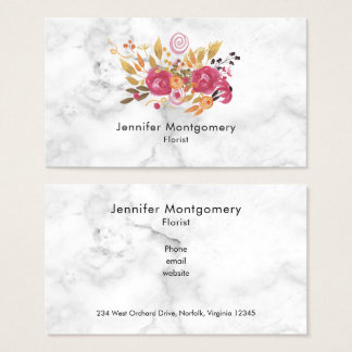Pink and Orange Flower Bouquet on Marble Texture Business Card