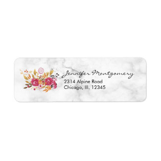 Pink and Orange Flower Bouquet on Marble Texture Return Address Label