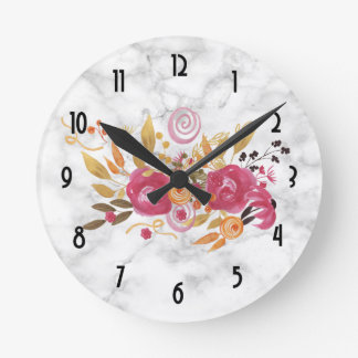 Pink and Orange Flower Bouquet on Marble Texture Round Clock