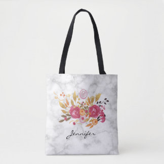 Pink and Orange Flower Bouquet on Marble Texture Tote Bag