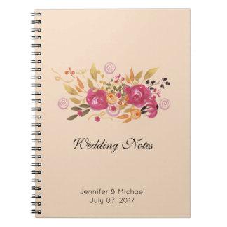 Pink and Orange Flower Bouquet on Peach Background Notebook
