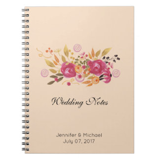 Pink and Orange Flower Bouquet on Peach Background Notebooks