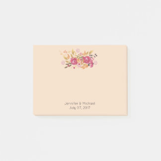 Pink and Orange Flower Bouquet on Peach Background Post-it Notes