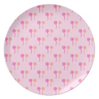 Pink and Orange Flower Pattern. Dinner Plates