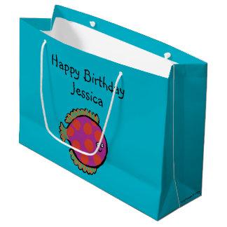 Pink and Orange Polka-Dot Fish Large Gift Bag