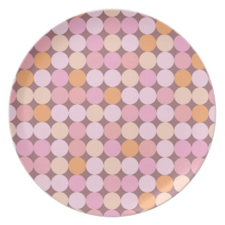 Pink and Orange Polka Dots Dinner Plate