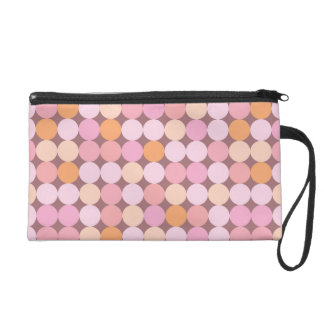 Pink and Orange Polka Dots Wristlet Clutch
