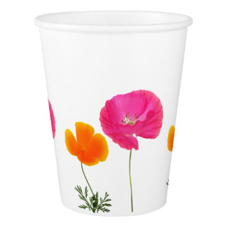 pink and orange poppies paper cup