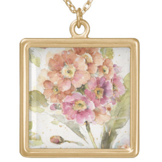 Pink and Orange Primrose Gold Plated Necklace