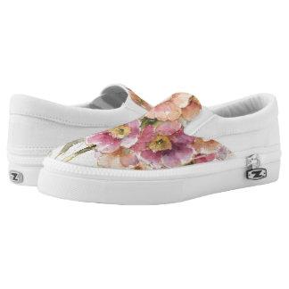 Pink and Orange Primrose Slip-On Shoes