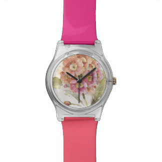 Pink and Orange Primrose Wrist Watch