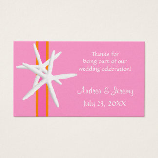 Pink and Orange Starfish Personalized Favor Tags