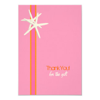 """Pink and Orange Starfish Small Thank You Cards 3.5"""" X 5"""" Invitation Card"""