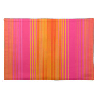 Pink and Orange Striped Pattern Placemat