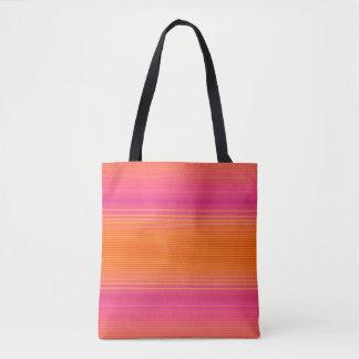 Pink and Orange Striped Pattern Tote Bag