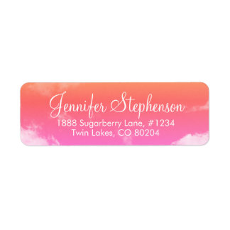 Pink and Orange Sunset Clouds Return Address Label