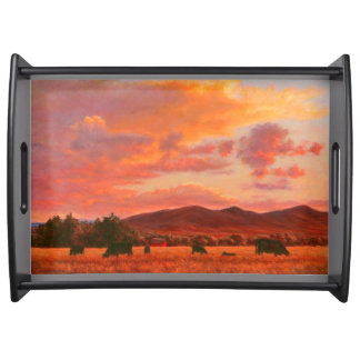 Pink and Orange Sunset Serving Tray