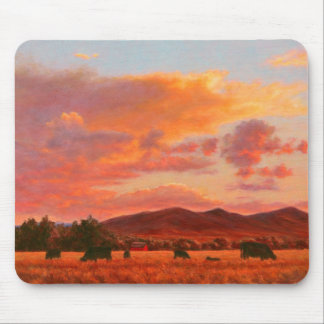 Pink and Orange Sunset with Cattle and Red Barn Mouse Pad