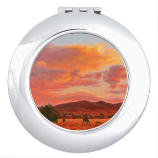 Pink and Orange Sunset with Cattle Compact Mirror