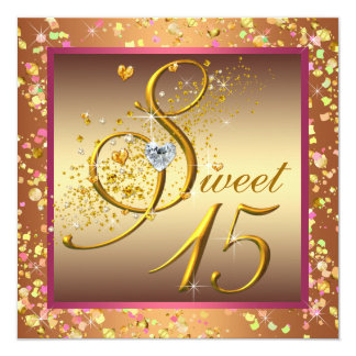 Pink and Orange Sweet Fifteen Quinceanera Party Custom Invitations