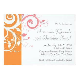 Pink and Orange Swirl Birthday Party Invitation