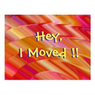 Pink and Orange Swirls Change of Address Postcard