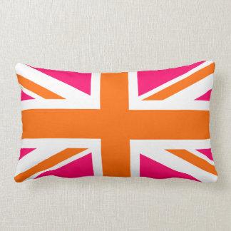Pink and Orange Union Jack Lumbar Cushion