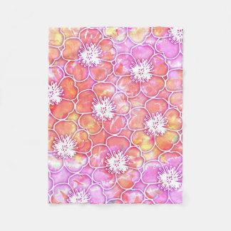 Pink and Orange Watercolor with White Flowers Fleece Blanket