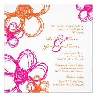 Pink and Orange Wild Flowers Wedding Invitation