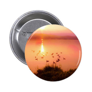 Pink and peach lake sunset pinback buttons