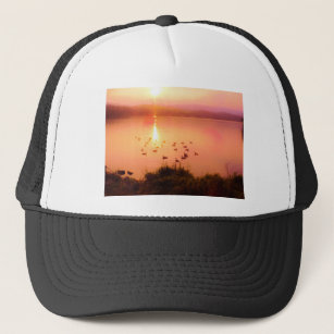 825687266cf21 Pink and peach lake sunset trucker hat