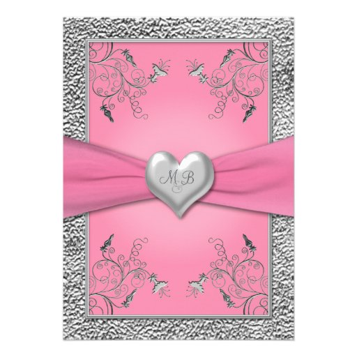 Pink and Pewter Heart Monogrammed Invitation