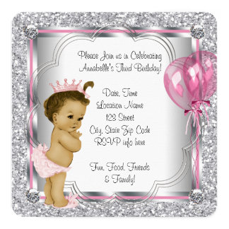 """Pink and Princess 3rd Birthday Party 5.25"""" Square Invitation Card"""