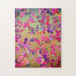 Pink and Puce Roses in a Random Pattern Jigsaw Puzzle