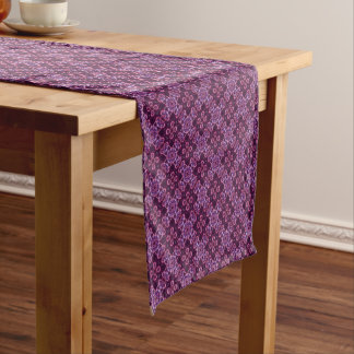 Pink And Purple Abstract Flower Pattern Short Table Runner