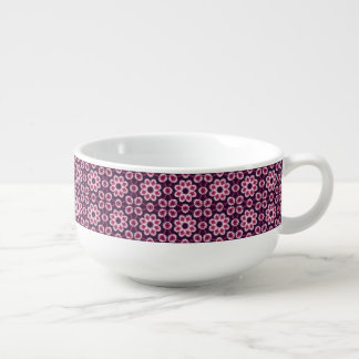 Pink And Purple Abstract Flower Pattern Soup Mug