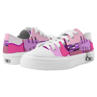 Pink and Purple Abstract Guitar Music Themed Printed Shoes