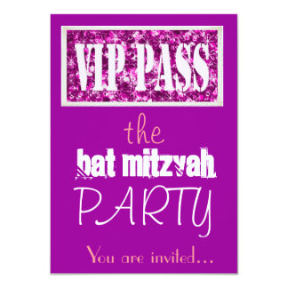 Pink and purple Bat Mitzvah VIP party Custom Announcements