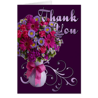 Pink and Purple Bouquet Thank You Card
