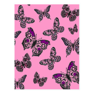 Pink and Purple Butterflies Postcard