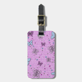 Pink And Purple Butterfly Pattern Luggage Tag