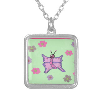 Pink and Purple Butterfly Silver Plated Necklace