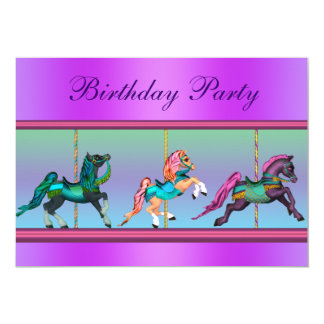 Pink and Purple Carousel Pony Birthday Party Personalized Announcements