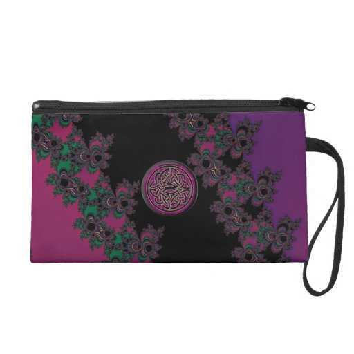 Pink and Purple Celtic Knot Fractal Hand Bag Wristlet