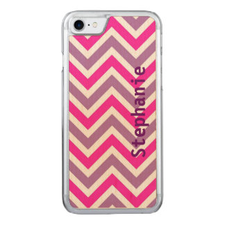 Pink and Purple Chevron Wooden Cellphone Carved iPhone 7 Case