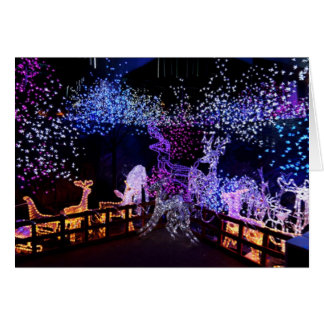 Pink And Purple Christmas Decorations Outdoors Greeting Card