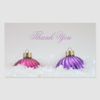 Pink and Purple Christmas Ornaments Rectangular Sticker