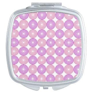 Pink and purple circles pattern makeup mirrors