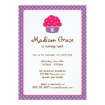 Pink and Purple Cupcake Polka Dot Birthday Party 13 Cm X 18 Cm Invitation Card