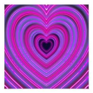 Pink and Purple Cute Girly Neon Hearts Photo Art